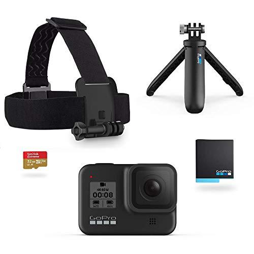 GoPro HERO8 Black Bundle - inklusive Shorty Stativ, Speicherkarte, Kopfbügel und Akku (Holiday Kit)