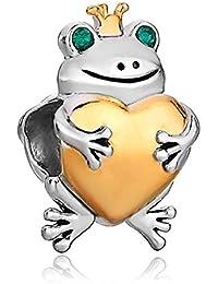 Myd joyas corona rana celebración corazón amor Pulsera de cuentas de Lucky Charms Europea paquete de 2