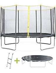 Alice's Garden - Trampoline rond de 370 cm de diamètre avec son filet de sécurité, son échelle et sa bâche de protection - Okapi Ø370cm - Normes : trampoline certifié par Intertek