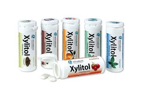 Miradent Xylitol Kaugummi, 6er Pack (Pfefferminze, Spearmint, Grüner Tee, Cranberry, Frucht, Zimt) 6 x 30 Stück