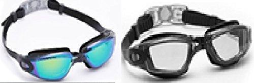 Bezzee-Pro Schwimmbrillen mit kostenlosem Schutzetui & Ohrenstöpsel am besten für Erwachsene geeignet – UV-Schutz – Spiegel-, Farbgläser – antibeschlag – antibruch – dicht – blendfrei – klare Sicht – blau / schwarz