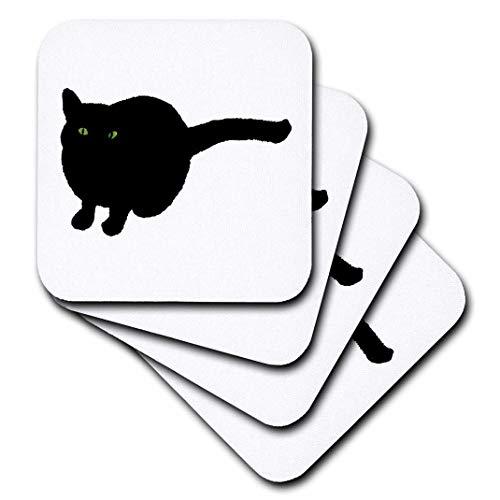 (cherylsart Tiere Katze Kunst–Malerei von einer Katze schwarz mit grünen Augen für Halloween–Untersetzer, grün, set-of-4-Soft)