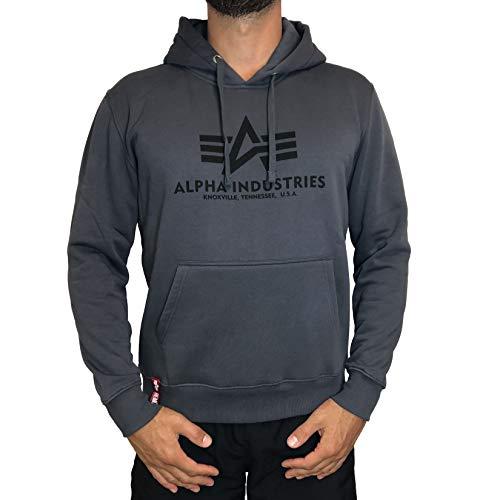 Alpha Industries Basic Hoodie Schwarz/Grau L - Herren-weiche Trainingshose