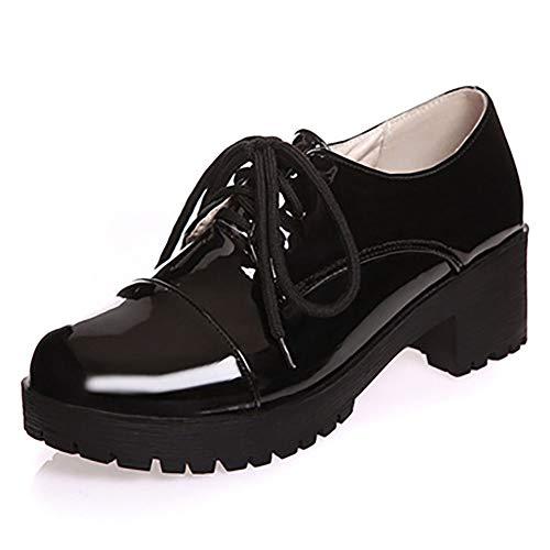 Zapatos Oxfords de Charol de Mujer Zapatos de Plataforma de Enredaderas Vintage Zapatos Brogue de Mujer Zapatos Gruesos Ocasionales de tacón Alto