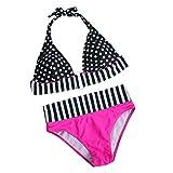 Yesmile Damen Hoher Taille Badeanzug 50er Retro Polka-Punkt Badeanzüge Bademode Zweiteiler Bikini Set Schwimmanzug