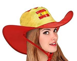 Atosa-22782 Atosa-22782-Gorro Cowboy España Plegable-Mundial De Fútbol Y Deportes, Color Rojo y Amarillo (22782