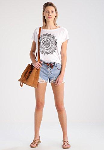 Even&Odd T-Shirt Damen in Weiß, Dunkelgrau o. Schwarz, Printshirt lässig und im Hippie Style, Kurzarm Oberteil mit Aufdruck & Rundhals-Ausschnitt Weiß