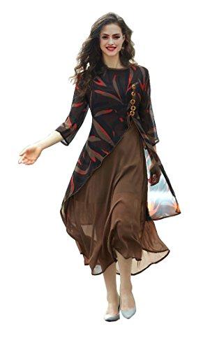 FabDiamond Women\'s Bown Georgette A-Line Kurti(B-1104_XL-Size)