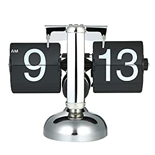 Anself Retro Table Clock, Quartz Flip Over Clock, Stainless Steel Internal Gear