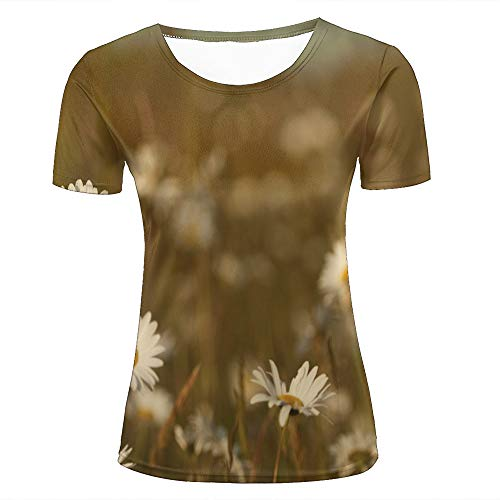 Women 3D Printed Fashion T-Shirts Cool Garden White Daisies Weed Graphic Casual Short Sleeve Shirts Novelty Tees XL (Volcom-zeichen)