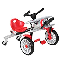 ROLLPLAY Seat Vehicle with Pedal Drive in Aircraft Design, For Children 2.5 Years and Older, Up to Max. 25 kg, Planedo, Silver