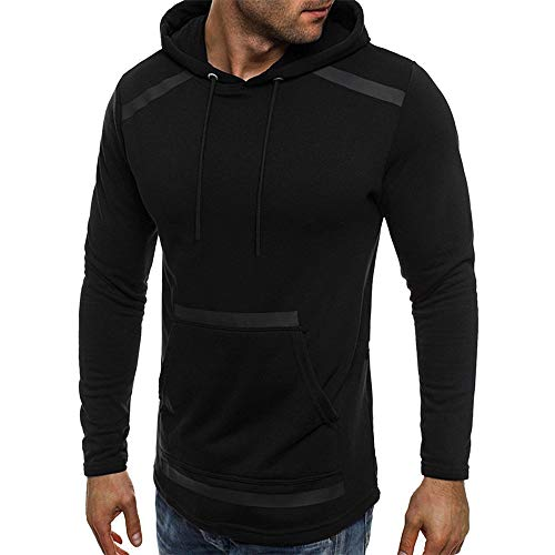 MERICAL Mantel Herren Herbst Winter Langarm Tasche Fleece Kapuzenpullover Outwear Tops(X-Large,Schwarz-A)