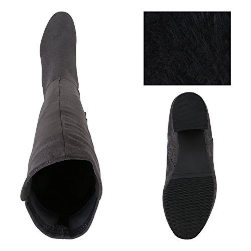 Stiefelparadies Damen Stiefel Overknees Wildleder-Optik Blockabsatz Schuhe Langschaftstiefel Boots Schleifen Flandell Grau Camiri Bernice