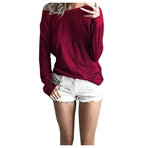 Oksea Damen Langarmshirts T Shirt Rundhals Ausschnitt Lose Bluse Hemd Pullover Oversize Sweatshirt Oberteil Tops Damen Basic Langarmshirt