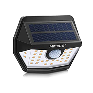 Solarleuchte für Außen MEIKEE 30 LED Solarlampe mit Bewegungsmelder 200° Superhelle Solarleuchte Aussen 1800mAh Solarlicht IP65 Wasserdichte Wandleuchte für Garten Patio Garage Terrasse Warmweiß