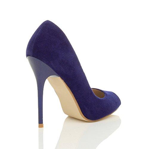 Ajvani Femmes Talon Haut Fête Simple Bout Ouvert Escarpins Chaussures Sandales Pointure Cobalt bleu daim