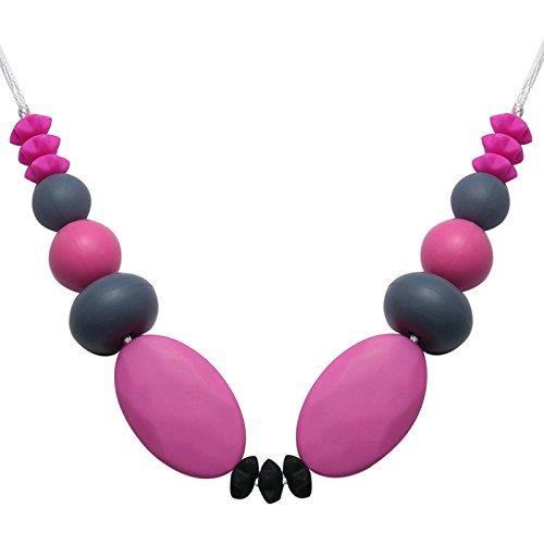 Gnzoe Schmuck Baby Kette Lebensmittelechtes Silikon Zahnen Anhänger Halskette Geometrie Rot Kleinkinder Beißringe Kette 80cm