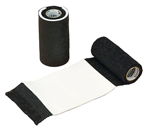 Power Flex AFD Bandage mit integrierter Wundauflage schwarz selbsthaftend   Binde Haftbandage Fixierbinde selbstklebend