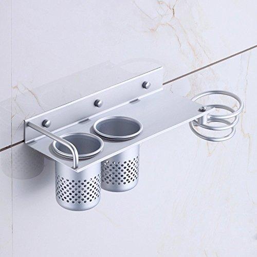 prezzo MyLifeUNIT montaggio a parete asciugacapelli appeso organizzatore cremagliera, titolare asciugacapelli alluminio con 2 tazze