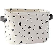 """slytem almacenamiento bin cesta organizador contenedor Cubo rectangular con asas de lino lienzo Yute plegable, Stars, #2: 7.8"""" long × 6.3"""" wide × 5.9"""" high"""