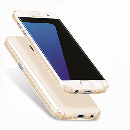 Minto Crystal TPU Full Body 360 ° Hülle iPhone 7 Plus Silikon Case Cover Etui Tasche - transparent Komplett Schutzhülle Gold