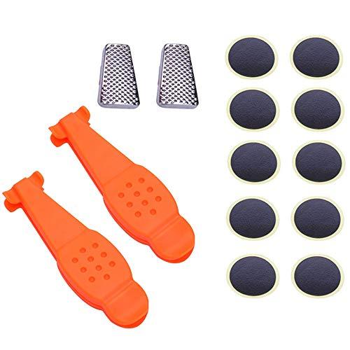 GNSDA 2 Satz Fahrradreifenheber Nylon-Reifenreparaturwerkzeuge, mit 10 Schlauchflicken, Reparatursätze für Fahrradreifen, Werkzeugsatz für Rennradfahrer erforderlich