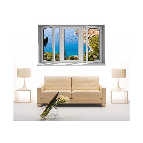 Tatoutex adesivi trompe l' oeil finestra la costa d' azur, l 150cm x h 90cm