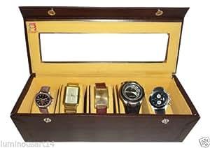Atorakushon 5 slot Watch Box Jewellery Jewelry Storage Box Bracelet Holder Case Leatherette