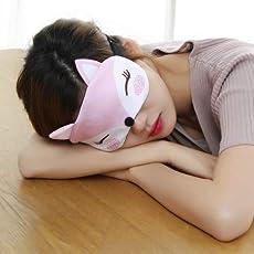 Zollyss Sleeping Masks Eye Masks Shade Eyepatch Soft Cotton Seamless Cover Cute Cartoon Fox for Travel Relax Sleeping Aid(Random Color and Design)