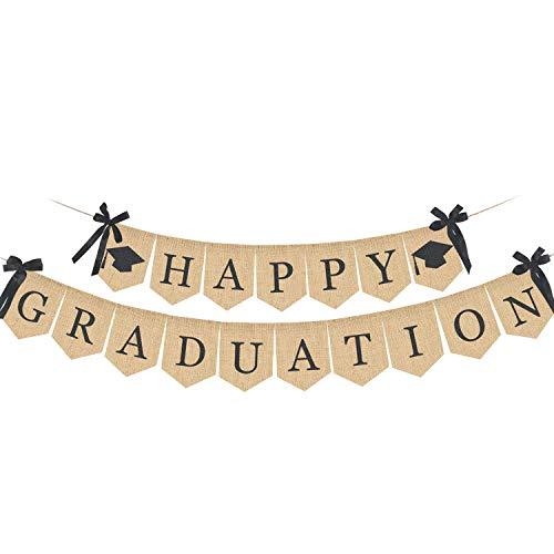 MILALOKO Glückliche Abschluss Banner, rustikale Vintage Leinwand-Abschlussfeier-Versorgungen 2019, Abschluss-Dekorationen für Abschluss-Abschluss-Zuhause-Party, Glückwunsch-Zeichen