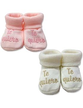 PEKITAS Pack 2 Pares Bebe Niña Patucos Zapatos Con Letras Bordadas 80% Acrílico 20% Algodón 0 a 3 Meses Fabricado...