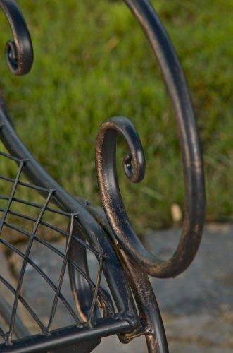 CLP Gartenbank TARA, Landhaus-Stil, Eisen lackiert, Design antik,113 x 47 cm, bis zu 5 Farben wählbar Bronze - 7