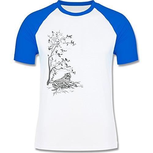 Vintage - Tiger Kirschblüten Baum - zweifarbiges Baseballshirt für Männer Weiß/Royalblau