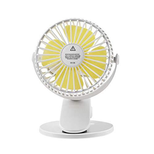 YSZDM Mini Ventilador con Clip, Ventilador USB de Escritorio Ventilador Personal portátil Ventilador pequeño y silencioso para la Oficina Viaje en casa Camping, Cochecito de bebé,White,1600mAh