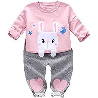 Logobeing Conjunto de Ropa de Bebe Niñas Tops Estampado de Conejo de Manga Larga Camiseta Sudaderas y Pantalones de Corazón Cariñoso