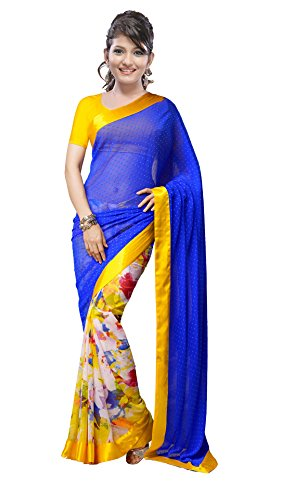 Shree Sanskruti Women's Georgette Saree (kanganabutti_Blue)
