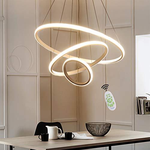 LED Pendelleuchte Esstisch Hängelampe 55W Dimmbar Deckenlampe Modern Pendellampe mit Fernbedienung Wohnzimmerlampe 3 Ring Design Lampe für Esszimmerlampe Schlafzimmerlampe Küchelampe Büro (Weiß)