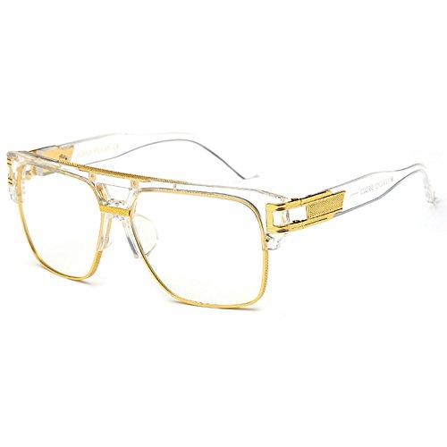 Damen Herren Streber brille Klassische Mode Retro Brille Oversized Fett Large Square Frame Transparent Keyhole Nerd Geek Stil Vintage Klare Linse -