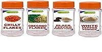 Ridies Combo of Red Chilly Flakes,100g + Oregano Flakes,100g + Black Peppper Flakes (Kali Mirchi),100g + White Pepper Powder,100g