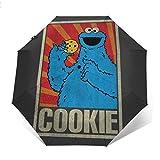 SES-Ame Street Cookie Monster soviético Paraguas Plegable Compacto de Apertura y Cierre automático, Plegable