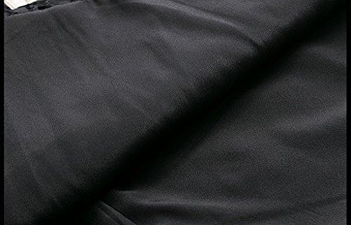DFHHG® Abito di un pezzo, autunno e inverno nuova moda senza maniche girocollo vita sottile abito da donna ricamato ( Colore : Nero , dimensioni : Xl ) Nero