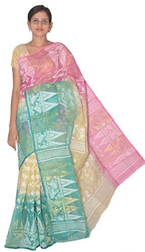 Raj Sarees Women's Handloom Dhakai Jamdani Cotton Silk Multi Colour (RS-017 )