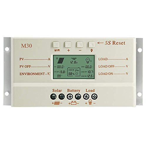 OOYCYOO 30A MPPT Solar Laderegler automatische Erkennung 12V/24V mit LCD-Display Display (M30)