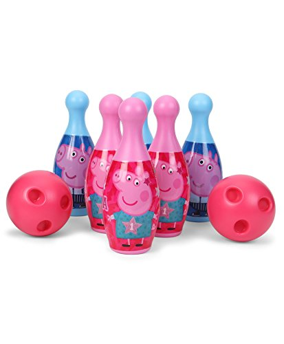 Peppa Pig Bowling set packed in Box carry case for Children of age 3 to 8 years | Premium Quality | Certified Safe as per European Safety Standards (EN71) | Sports development toys for Kids | Multi Color | Includes 6 pins and 2 balls?