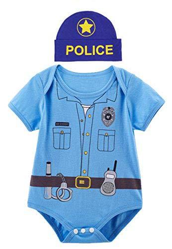Mombebe Baby Jungen Polizei Halloween Kostüm Bodysuits mit Hut (6-12 Monate, ()