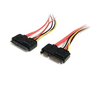 StarTech.com 12in 22 Pin SATA Power and Data Extension Cable - 1ft SATA data power Extension - 12 inch SATA Extension