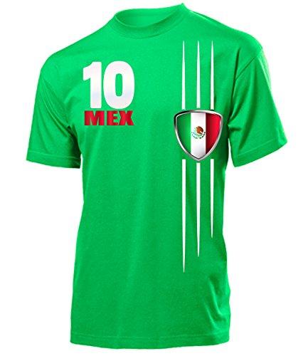 Mexiko Fanshirt Fan Shirt Tshirt Fanartikel Artikel 3340 Fussball Männer Herren T-Shirts Grün XXL -