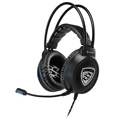 Price comparison product image Sharkoon Ski Roller Stereo Gaming Headset for PC / PS4,  50 mm Speaker,  Extra Large Ear Pads. Spring-loaded head strap mount – Black black Black