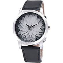 Relojes Mujer,Xinan Moda Flor PU Cuero Analógico Cuarzo Reloj de Pulsera (Negro)