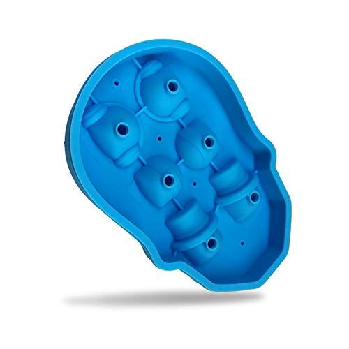 6 Hohlräume Skelett Schädel Silikon Eiswürfelform Tablett mit Deckel, Eiswürfelbereiter für Getränkekühler DIY Kuchen Candy Schokolade Seife -